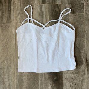 Women's string patterned tank top crop top